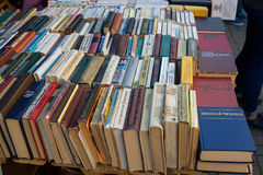 Old soviet books on second hand bookstalls Stock Photos