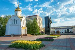 The Central square of the city of Ivanov-Revolution square 15.05.2018 in the city of Ivanovo, Ivanovo region, Russia. Ivanovo Ivanovo oblast Russia – 15 stock photography