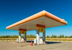 Ivanovo, Russia: Gas station `PLUS` near a highway stock photo