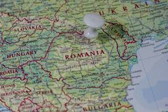 Ivanovsk, Russia - February 04, 2019: Romania on the map of the world royalty free stock images