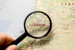 Ivanovsk, Russia - January 24, 2019: Lebanon on the map of the world stock photo