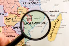 Mozambique on the map of the world royalty free stock image