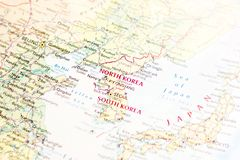 Ivanovsk, Russia - January 24, 2019: North Korea and South Korea on the map of the world. Nice map illustration of geographic place, for your needs stock image