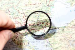 Ivanovsk, Russia - November 24, 2018: Bulgaria on the map of the world stock images
