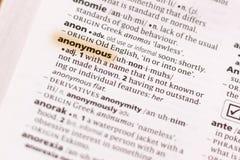 Ivanovsk, Russland - 19. November 2018: Das Wort oder die Phrase anonym in einem Wörterbuch lizenzfreie stockfotografie