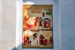 Ivanovskoe Rosja, Sierpień, - 2018: Fresk na Ortodoksalnych tematach na fasadzie budynek stary kościół obraz royalty free