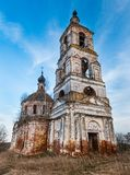 Ivanovskoye settlement, Russia:  The old abandoned Church of Nativity of John Precursor. Ivanovskoye settlement Privolzhsk - April 2017, Russia: The old Royalty Free Stock Photography