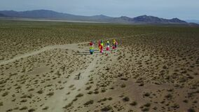 Colorful rocks in desert, aerial of Seven Magic Mountains, Nevada
