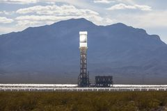 Ivanpah Desert Solar Thermal Power Plant Tower. Editorial photo of the massive newly operational 392 megawatt Ivanpah solar thermal power plant in California's Stock Photo
