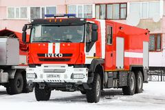 Iveco AMT Trakker. Novyy Urengoy, Russia - April 30, 2015: Fire truck Iveco AMT Trakker in the city street stock image