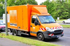 Iveco Daily. Berlin, Germany - August 15, 2014: Cargo van Iveco Daily in the city street royalty free stock image