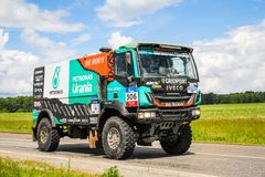 Iveco. Chelyabinsk region, Russia - July 10, 2017: Truck Iveco No. 306 of the Astana Motorsports Team De Rooy Iveco driven by Ton Van Genugten competes in the stock images