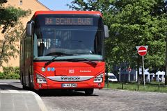 Iveco city bus. NUREMBERG, GERMANY - MAY 7, 2018: Iveco school bus in Nuremberg, Germany. Nuremberg is located in Middle Franconia. 511,628 people live here stock image