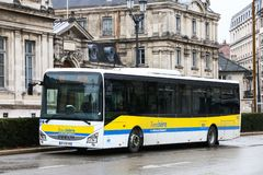 IVECO Crossway LE. Grenoble, France - March 14, 2019: Suburban bus IVECO Crossway LE in the city street stock images