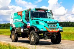 Iveco 4X4 DRNL. CHELYABINSK REGION, RUSSIA - JULY 10, 2017: Truck Iveco 4X4 DRNL No. 310 of the Astana Motorsports Team De Rooy Iveco driven by Artur Ardavichus stock images