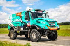 Iveco 4X4 DRNL. Chelyabinsk region, Russia - July 10, 2017: Truck Iveco 4X4 DRNL No. 310 of the Astana Motorsports Team De Rooy Iveco driven by Artur Ardavichus royalty free stock images