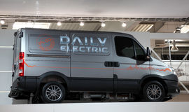 Iveco Daily Electric Van. HANNOVER - SEP 20: Iveco Daily Electric Van at the International Motor Show for Commercial Vehicles on September 20, 2012 in Hannover royalty free stock photography
