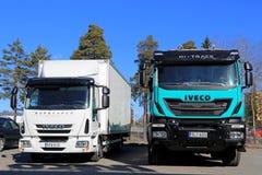 Iveco-Euro 6 LKWs auf einem Yard Stockbilder
