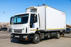 Iveco EuroCargo. Novyy Urengoy, Russia - May 9, 2019: White truck Iveco EuroCargo in the city street royalty free stock images