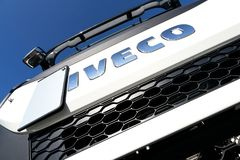 Iveco logo at truck. Iveco is an Italian industrial vehicle manufacturing company based in Turin and entirely controlled by CNH Industrial Group royalty free stock photos