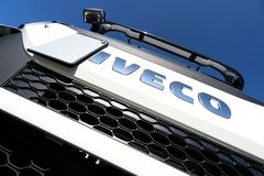 Iveco logo at truck. Iveco is an Italian industrial vehicle manufacturing company based in Turin and entirely controlled by CNH Industrial Group stock image