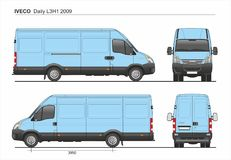Iveco Daily L3H1 2009 Cargo Delivery Van. Detailed template AI Format for design and production of vehicle wraps scale 1:10 vector illustration