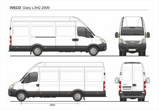 Iveco Daily L3H2 2009 Cargo Delivery Van. Detailed template AI Format for design and production of vehicle wraps scale 1:10 Royalty Free Stock Image
