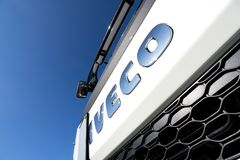Iveco logo at truck. Iveco is an Italian industrial vehicle manufacturing company based in Turin and entirely controlled by CNH Industrial Group stock photos