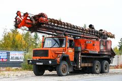 Iveco Magirus 260-25 ANW. Novyy Urengoy, Russia - September 8, 2018: Mobile drilling rig IPD-20T-U4 mounted on a truck Iveco Magirus 260-25 ANW at the royalty free stock photos