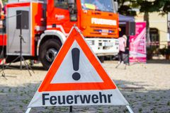 Iveco Magirus rotating ladder from german fire department Peine f. PEINE / GERMANY - JUNE 22, 2019: Iveco Magirus rotating ladder from german fire department royalty free stock photography