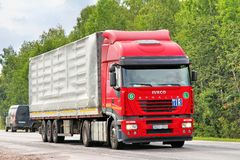 Iveco Stralis AS430. CHELYABINSK REGION, RUSSIA - JULY 24, 2012: Red Iveco Stralis AS430 semi-trailer truck at the interurban road royalty free stock photos
