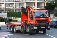 Iveco Trakker. Monte-Carlo, Monaco - March 12, 2019: Red truck Iveco Trakker in the city street royalty free stock photography