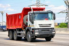 IVECO Trakker. MOSCOW, RUSSIA - JUNE 2, 2012: White IVECO Trakker dump truck at the interurban road royalty free stock images