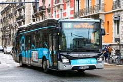 Iveco Urbanway. Grenoble, France - March 14, 2019: Urban bus Iveco Urbanway in the city street stock photos