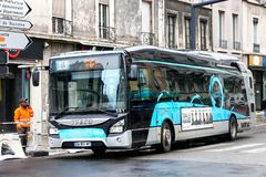Iveco Urbanway. Grenoble, France - March 14, 2019: Urban bus Iveco Urbanway in the city street royalty free stock image