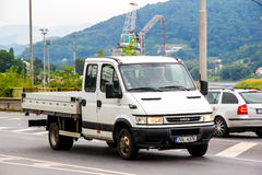 Iveco Daily. USTI NAD LABEM, CZECH REPUBLIC - JULY 21, 2014: White cargo truck Iveco Daily in the city street royalty free stock photos