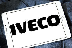 Iveco vehicles logo. Logo of the Italian industrial vehicle manufacturing company iveco on samsung tablet stock image