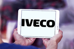 Iveco vehicles logo. Logo of the Italian industrial vehicle manufacturing company iveco on samsung tablet stock photography