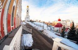 Iversky修道院的Fisheye视图翼果的,俄罗斯 免版税库存照片
