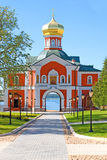 The Iversky Monastery. Situated on one of the islands of the Valday Lake was founded by Patriarch Nikon in 1653 after the model of  of Aphon. It is surrounded Stock Image