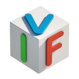 IVF Acronym Toy Blocks. 3D rendering of colorful toy blocks with the acronym IVF Stock Image