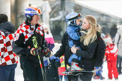 Ivica and Elin Kostelic with son. ZAGREB, CROATIA - JANUARY 15, 2017 : FIS World Snow Day for kids with free skiing and snowboarding lessons on the ski slope in Stock Image