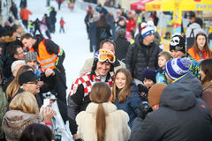 Ivica Kostelic posing with kids Royalty Free Stock Photos