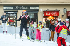 Ivica Kostelic at World Snow Day. ZAGREB, CROATIA - JANUARY 15, 2017 : FIS World Snow Day for kids with free skiing and snowboarding lessons on the ski slope in Stock Images