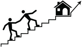 Iving a hand or support to a struggling member to climb to desti. Vector concept of a buisness man or banker or guardian helping a person climbing a stairs Stock Images