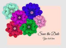 Ivitation med blomman i trendfärg stock illustrationer
