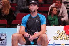 Ivo Karlovic (CRO). VIENNA, AUSTRIA - OCTOBER 19, 2015: Ivo Karlovic (CRO) during his 1st round match against Andreas Seppi (ITA) at the Erste Bank Open in royalty free stock images