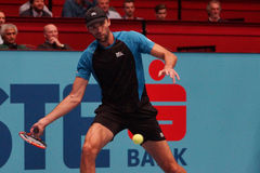 Ivo Karlovic (CRO). VIENNA, AUSTRIA - OCTOBER 19, 2015: Ivo Karlovic (CRO) during his 1st round match against Andreas Seppi (ITA) at the Erste Bank Open in royalty free stock image