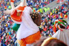 Ivorian football fan. Cote dIvoire footbal (soccer) fan standing with crowd on the World Cup in South Africa Royalty Free Stock Image