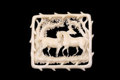 Ivory brooch of the 19th century Stock Photography